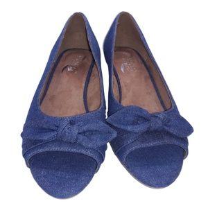 Aerosoles Blue Denim Peep-toe Wedges 9M